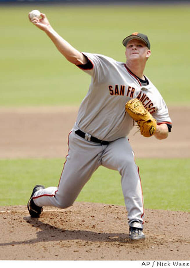 San Francisco Giants starter Matt Cain delivers a pitch against the Washington Nationals during a baseball game, Thursday, July 27, 2006, in Washington.(AP Photo/Nick Wass) Photo: NICK WASS