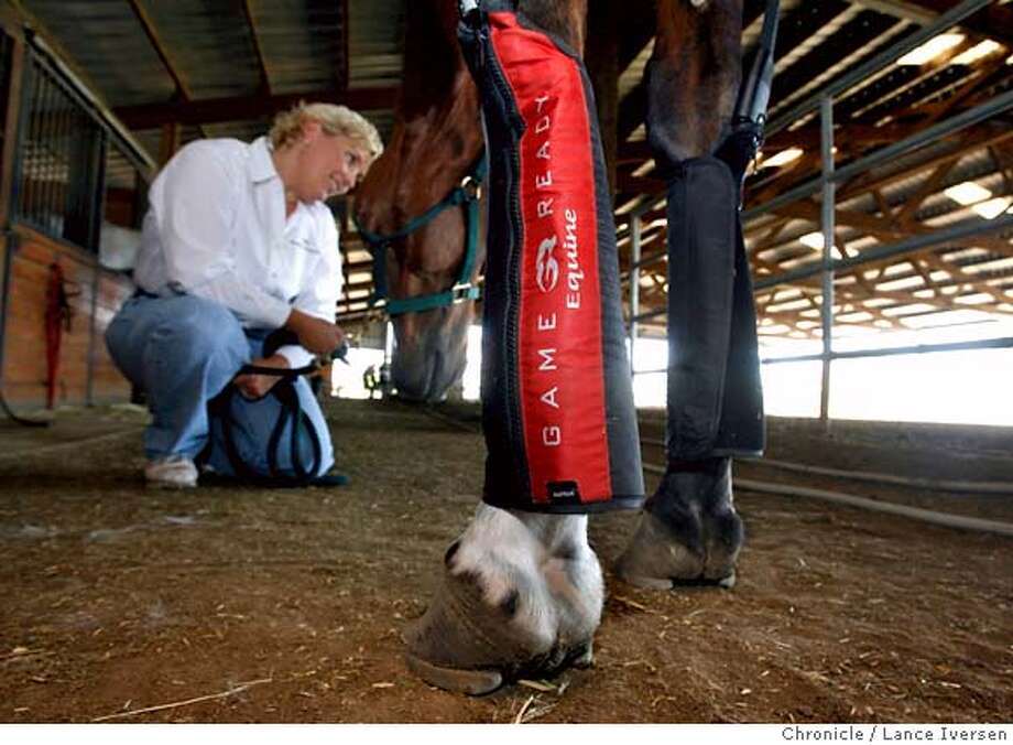 .JPG  Berkeley-based Game Ready uses technology that controls the temperature and pressure in spacesuits to treats athletic injuries. The combination of cold and compression proved to be so successful with professional, college and high school athletes, that top athletes including Steve Young and Jerry Rice invested in the company.  Game Ready hit on the idea of using this technology used on humans on horses who suffer from many of the same types of injuries from strained tendons to muscle tears. Equestrian Team member, Dynah Korhummel, once short-listed to represent Canada in the Olympics, runs this new division, treats her horse in a Brentwood stable. 7/20/06 in BRENTWOOD.  By Lance Iversen/San Francisco Chronicle MANDATORY CREDIT PHOTOG AND SAN FRANCISCO CHRONICLE/ MAGS OUT Photo: By Lance Iversen