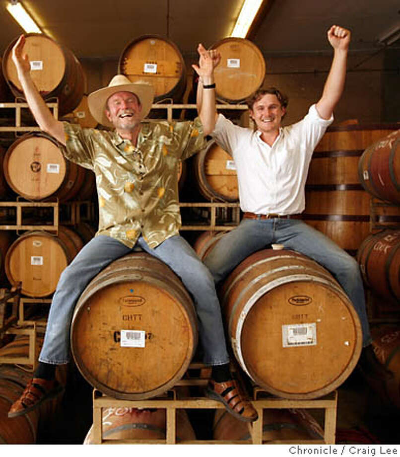 RAVENSWOOD27_618_cl.JPG  Profile of Ravenswood winemaker Joel Peterson. He took Ravenswood public in 1999 and it was bought by Constellation. Photo of Joel Peterson (left) and his son, Morgan Twain-Peterson (also a winemaker) riding some wine barrels at Ravenswood.  Craig Lee / The Chronicle MANDATORY CREDIT FOR PHOTOG AND SF CHRONICLE/ -MAGS OUT Photo: Craig Lee