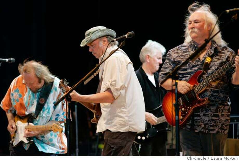 CSNY2710024_lkm.jpg Stephen Stills, Neil Young, Graham Nash and David Crosby (left to right) of Crosby, Stills, Nash and Young perform during a stop on their Freedom of Speech reunion tour at the Sleep Train Pavilion in Concord, CA on Tuesday, July 25, 2006. Laura Morton/The Chronicle MANDATORY CREDIT FOR PHOTOGRAPHER AND SAN FRANCISCO CHRONICLE/ -MAGS OUT Photo: Laura Morton