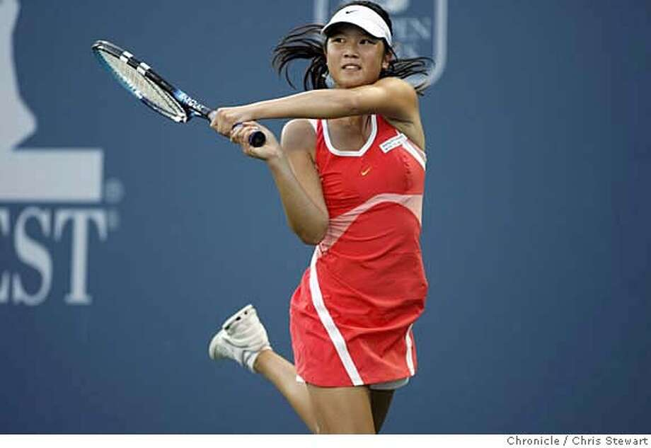 tennis25_134_cs.jpg Event on 7/24/06 in Stanford. Stanford graduate Amber Liu (pictured) plays No. 7 seed Shahar Peer of Israel in the Bank of the West Tennis Classic being played at Stanford's Taube Family Tennis Stadium. Liu won the first set 6-4. While at Stanford Liu was a four-time All-American, two-time NCAA Singles Champion and 2005 NCAA Doubles Finalist. Chris Stewart / The Chronicle MANDATORY CREDIT FOR PHOTOG AND SF CHRONICLE/ -MAGS OUT Photo: Chris Stewart