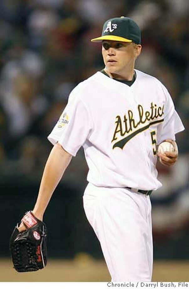 athletics_0012_db.JPG  Oakland Athletics pitcher Brad Halsey reacts to giving up 3 runs in the 7th inning vs. Arizona Diamondbacks at McAfee Coliseum in Oakland, CA on Friday, June 30, 2006. shot: 6/30/06  Darryl Bush / The Chronicle ** (roster) MANDATORY CREDIT FOR PHOTOG AND SF CHRONICLE/ -MAGS OUT Photo: Darryl Bush