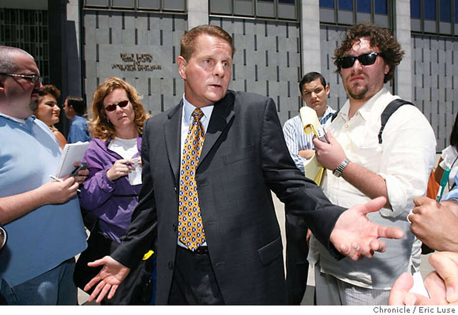 bonds_118_el.jpg  Attorney Michael Rains, in front of the Federal Building, talks about his client, Barry Bonds. Eric Luse/The Chronicle Names (cq) from source Photo: Eric Luse
