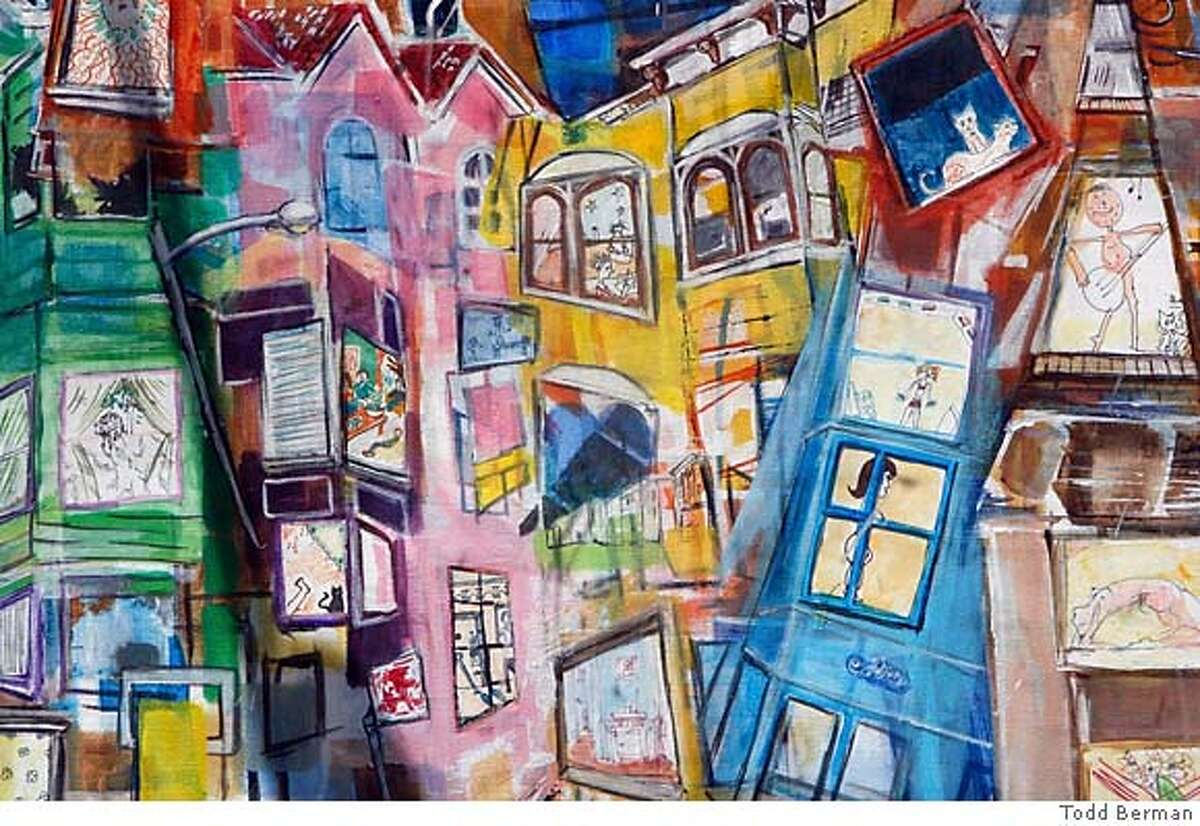 This is one of Todd's paintings called The Apartments People's drawings of their own apartment windows were collaged into this impression of an urban landscape. Todd Berman an artist who is doing sketches of the 6th street area. Todd's show is hanging in a window at the corner of Mina & 6th . KURT ROGERS/THE CHRONICLE SAN FRANCISCO THE CHRONICLE SFC VISUALART20_0006_kr.jpg