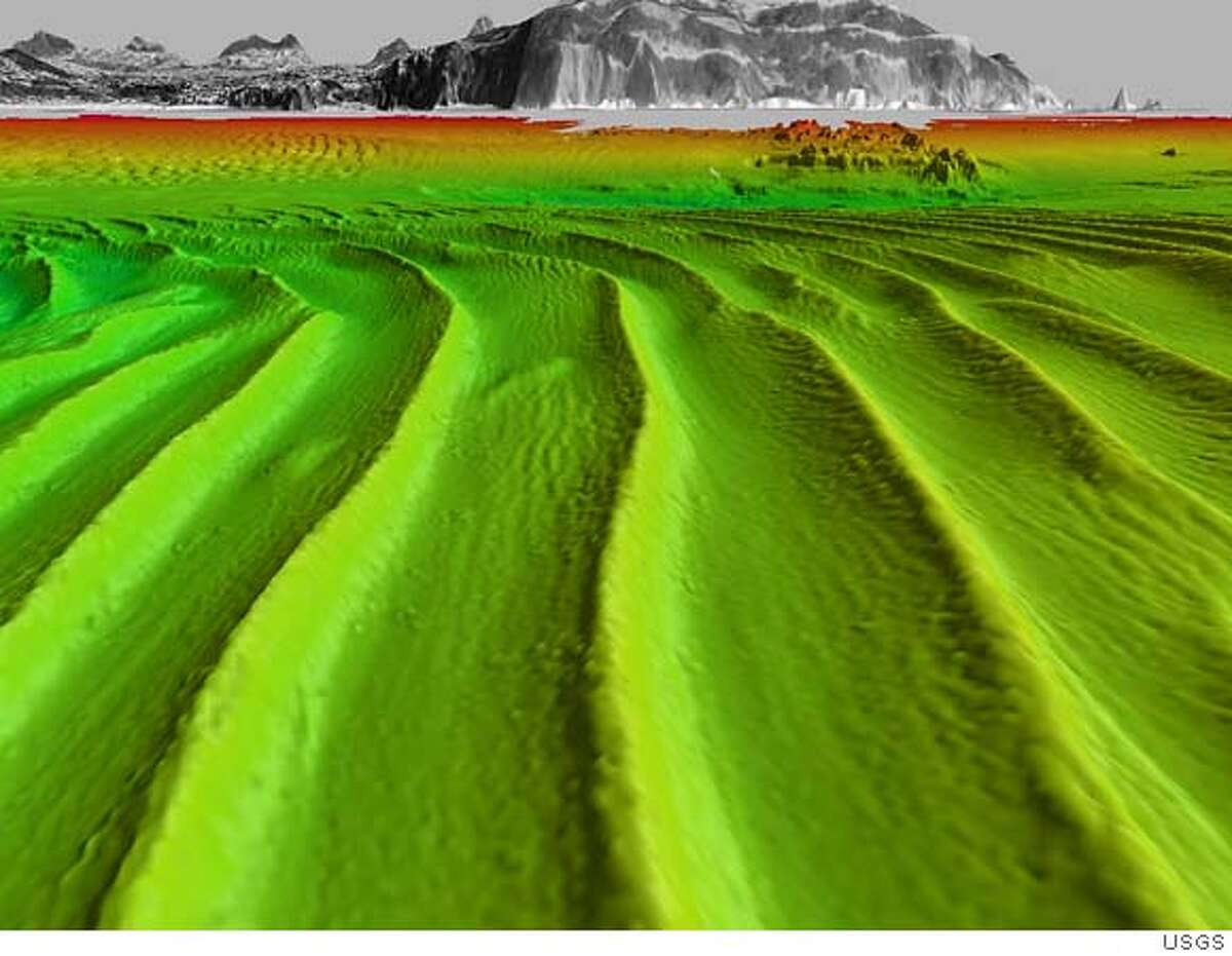 Digital rendering of sand waves beneath the surface of San Francisco Bay. CREDIT: US GEOLOGICAL SURVEY Submitted by: Patrick L. Barnard, Ph.D. Research Geologist United States Geological Survey Pacific Science Center 400 Natural Bridges Drive Santa Cruz, CA� 95060 (831) 427-4756 Office (831) 427-4748 Fax