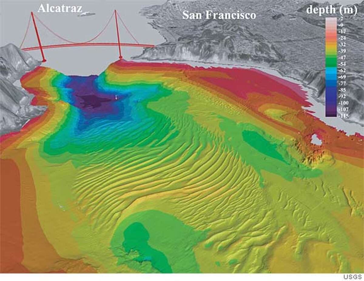 Here is a digital rendering of sand waves beneath the surface of San Francisco Bay. Photo courtesy of U.S. Geological Survey