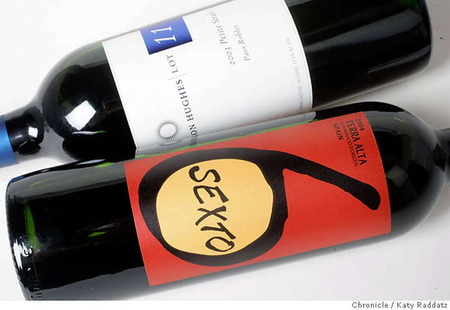 BARGAINS20_012_RAD.jpg  For the Bargain Wines Column: 2003 Cameron Hughes Lot 11 Paso Robles Petit Sirah;  2004 Terra Alta Sexto Spain  Photo taken on 7/6/06, in San Francisco, CA.  (Katy Raddatz/The S.F.Chronicle)  **Cameron Hughes, Paso Robles, Petit Sirah, Terra Alta Sexto Mandatory credit for photographer and the San Francisco Chronicle/ -Mags out Photo: Katy Raddatz