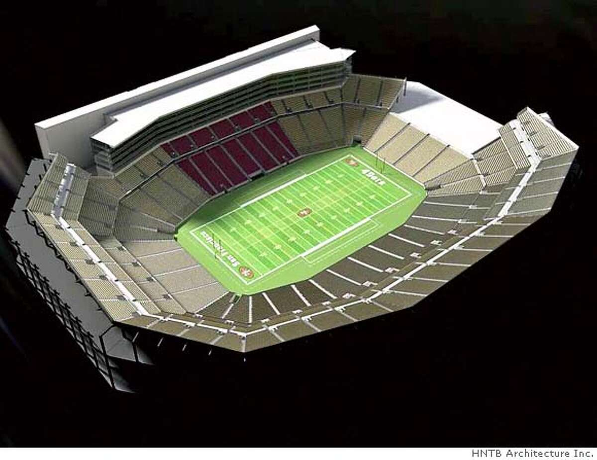 Birds eye view of proposed SF 49er stadium. Credit: HNTB Architecture Inc.