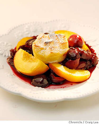"Compote (KOM-poht): A chilled dessert of fruit cooked in a sugar syrup. Audio: Click here to hear the term ""Compote."" Photo: Craig Lee"