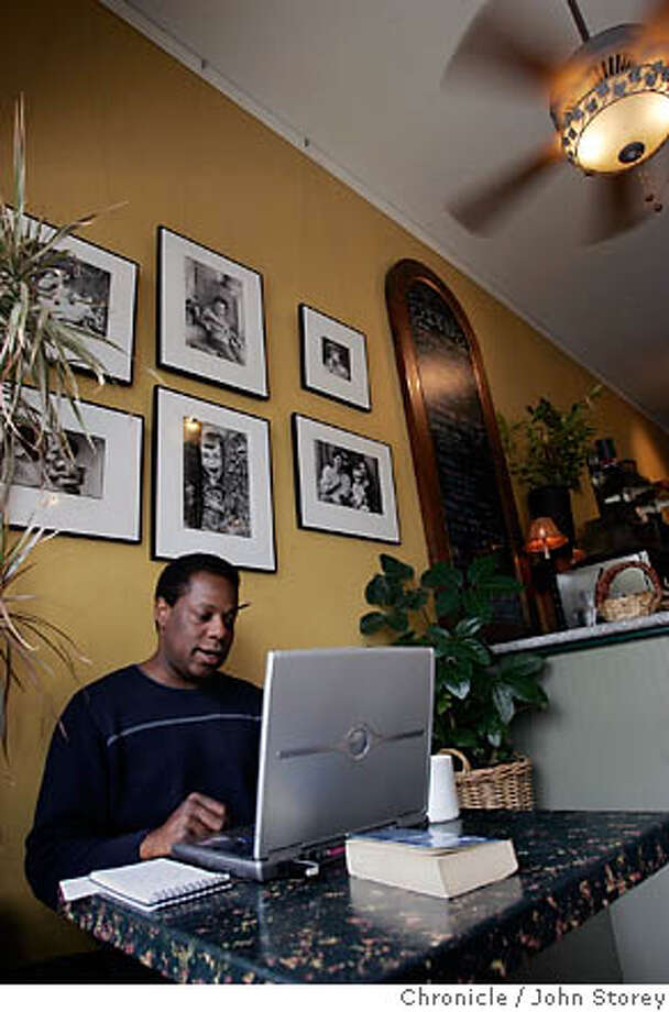 Copeland10_jrs_0138.jpg  Comedian Brian Copeland writes his show on his computer at Sabino's Coffee in San Leandro.  John Storey San Leandro Event on 5/6/05 MANDATORY CREDIT FOR PHOTOG AND SF CHRONICLE/ -MAGS OUT Photo: John Storey