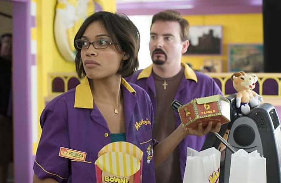 Rosario Dawson and Brian O'Halloran star as Becky and Dante in Kevin Smith's Clerks 2. Photo: Ho