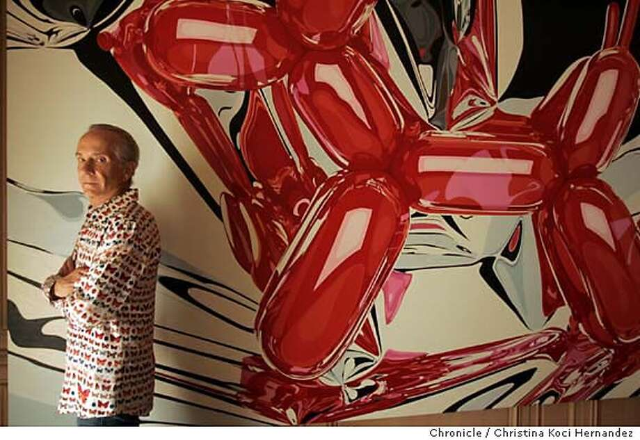 "Norman Stone in front of painting, ""Balloon Dog,"" by artist Jeff Koons, 1996, in his dining room. Stone at home with his art collection in Pacific Heights. Stone, 67, is the heir to a large fortune but has always worked as a psychotherapist in the Bayview/Hunter's Point area. A lot of his art collection, he says, mirrors his experience with the issues he sees as a therapist. Miroslav Tichy, a photographer, whose work he collects will be mentioned in the story.. (CHRISTINA KOCI HERNANDEZ/THE CHRONICLE)) Mandatory Credit For Photographer and San Francisco Chronicle/No-Sales-Mags Out Photo: Christina Koci Hernandez"