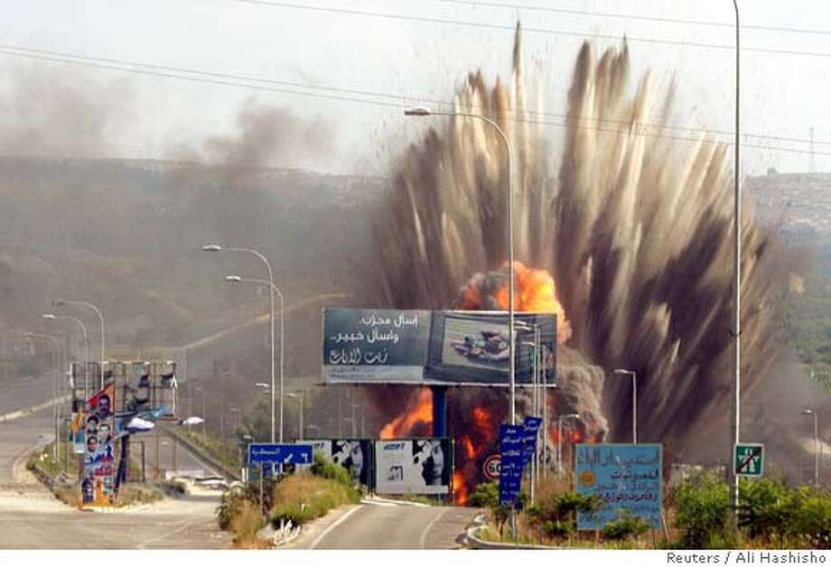 Missiles fired from Israeli jets hit the Zahrani bridge in south Lebanon Photo: Str