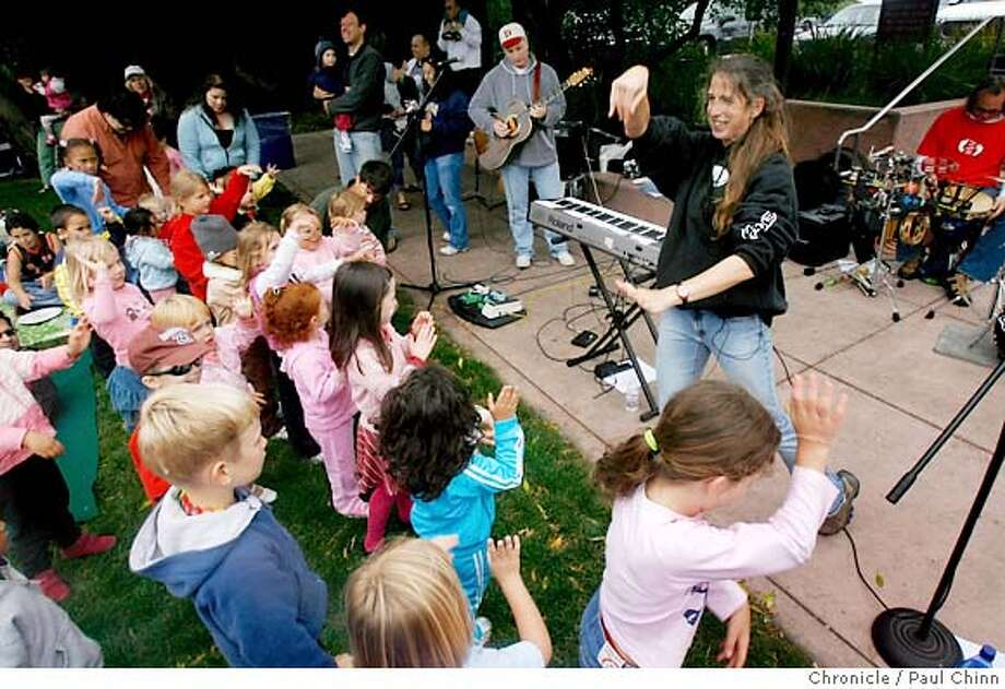 Family-oriented rock group Charity and the JAMband (cq) entertains youngsters at the 2006 Family JAMband concert series at Park Chalet restaurant in San Francisco, Calif. on Saturday, June 10, 2006. The family-oriented festivals are held once a month during the summer and features a concert, BBQ, face-painting and rides on a horse drawn carriage.  PAUL CHINN/The Chronicle  **Charity and the JAMband (cq) Photo: PAUL CHINN
