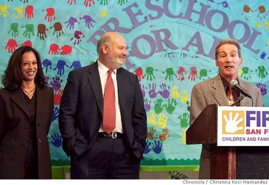 CHRISTINA KOCI HERNANDEZ/CHRONICLE  (center)Rob Reiner, (R)Tom Ammiano and (L)Kamala Harris get together for pre-school presser event at which they will give more details on the city's unique pre-school program starting this fall. It will allow all four-year-olds in Visitacion Valley, the Excelsior, the Mission and the Bayview to go to pre-school for free. Within five years, it will be citywide. Ran on: 07-15-2005  Supervisor Tom Ammiano (right), with actor Rob Reiner and District Attorney Kamala Harris, talks about the Preschool for All program guaranteeing free preschool. Photo: CHRISTINA KOCI HERNANDEZ