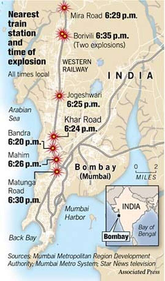 Nearest Train Station and Time of Explosion. Associated Press Graphic