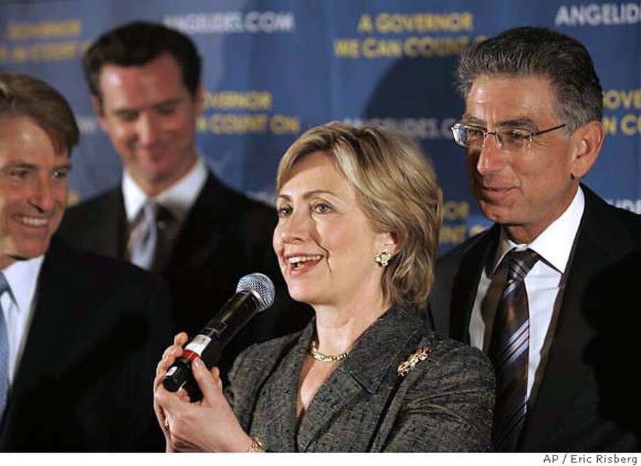 Hillary Rodham Clinton, Phil Angelides, Steve Westly, Gavin Newsom Photo: ERIC RISBERG