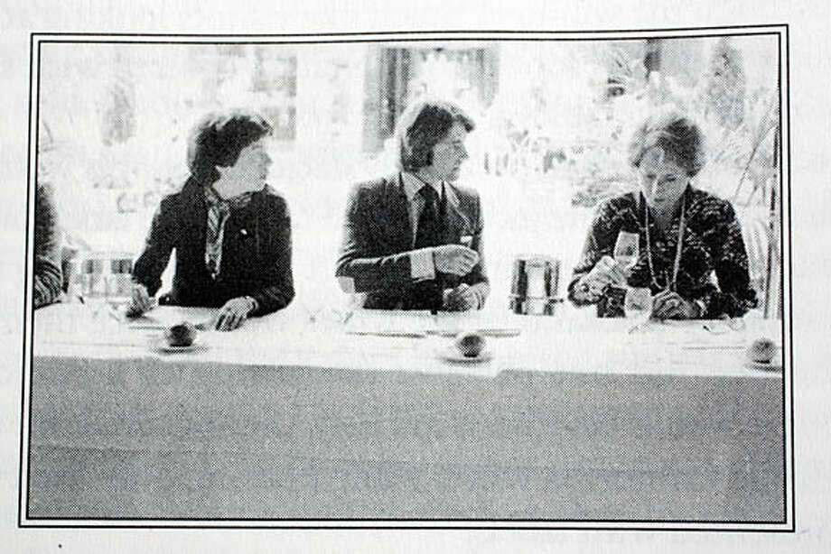 """PARIS01_BOOK_002_RAD.JPG  SHOWN: This is a copy photo!!!! The photo is courtesy of the book publisher! The photo is captioned: Patricia Gallagher, Steven Spurrier, Odette Kahn at the Paris Tasting. The book is titled: """"JUDGEMENT OF PARIS CALIFORNIA VS. FRANCE AND THE HISTORIC 1976 PARIS TASTING THAT REVOLUTIONIZED WINE"""" by George M. Taber. Copy photos are courtesy of the publisher. Photo taken on 5/25/06, in SAN FRANCISCO, CA.  **Taber  Ran on: 06-01-2006  2 1973 Stag's Leap Wine Cellars Napa Valley Photo: Katy Raddatz"""