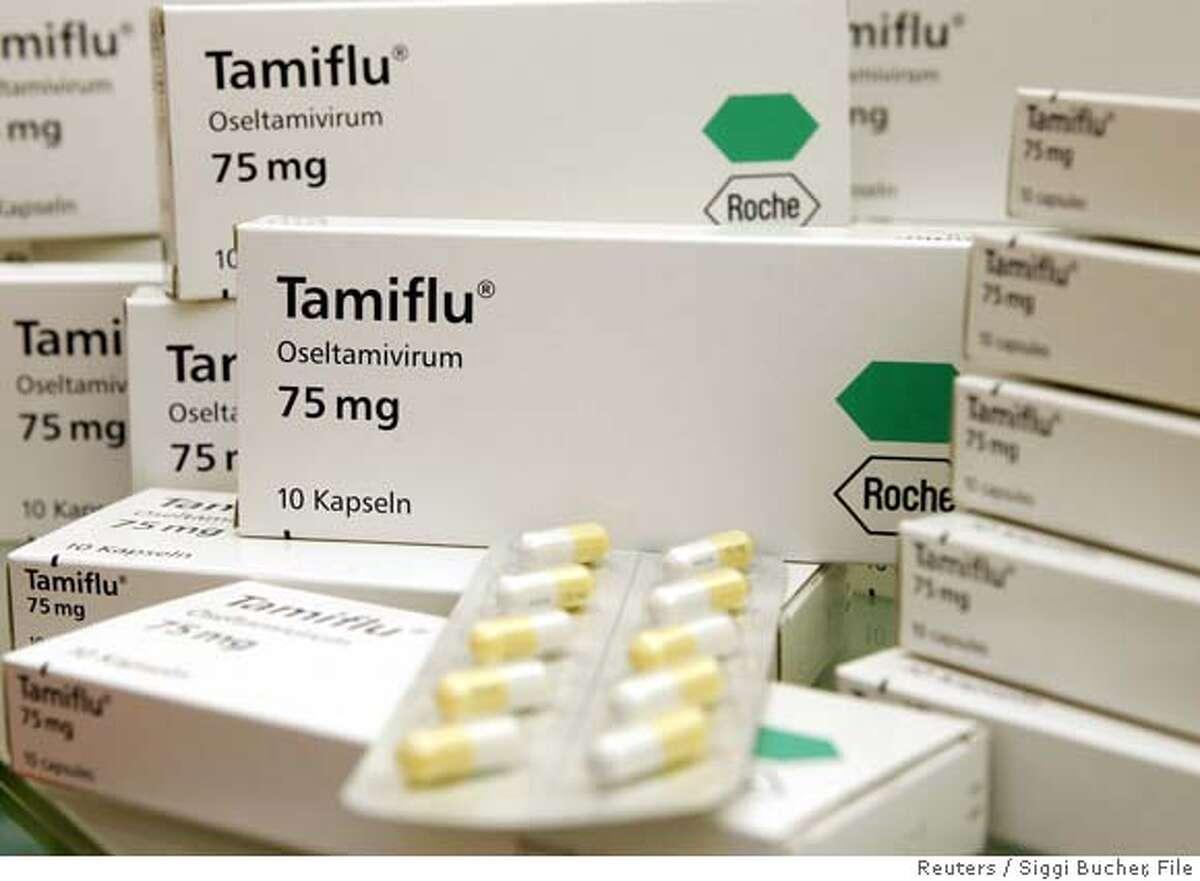 Flu drug Tamiflu is seen at a pharmacy in Zurich