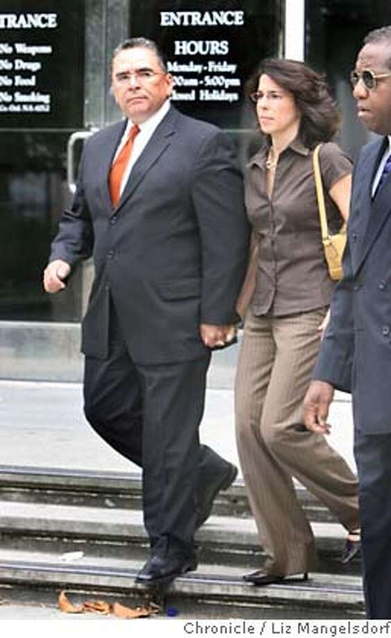 gonzales179_lm.JPG  San Jose Mayor Ron Gonzales walks with his wife Guisselle Nunez out of the Santa Clara Superior Court Hall of Justice on West Hedding Street in San Jose on June 26th, 2006. He entered a plea in his bribery case. On the far right is his chief os staff Jim Webb. Liz Mangelsdorf /The Chronicle  ***Ron Gonzales and Guisselle Nunez (from Mercury Center archive website), Jim Webb (From Mayor's press officer) Photo: Liz Mangelsdorf