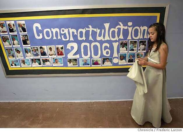 Azucena Hernandez (11) prepares for her fifth grade graduation ceremony at Malcolm X Academy in San Francisco's Hunters Point. Traditionally a very big deal. Families rent limos and hold huge parties, and kids wear gowns and tuxedos and loads of Samoan leis made of candy or, sometimes, money. But some families believe that completing fifth grade is worth a huge celebration because so many kids from the neighborhood never make it to the end of high school, much less college.  **Azucena Hernandez  6/15/06  {Frederic Larson/The Chronicle} MANDATORY CREDIT FOR PHOTOGRAPHER AND SAN FRANCISCO CHRONICLE/ -MAGS OUT Photo: Frederic Larson