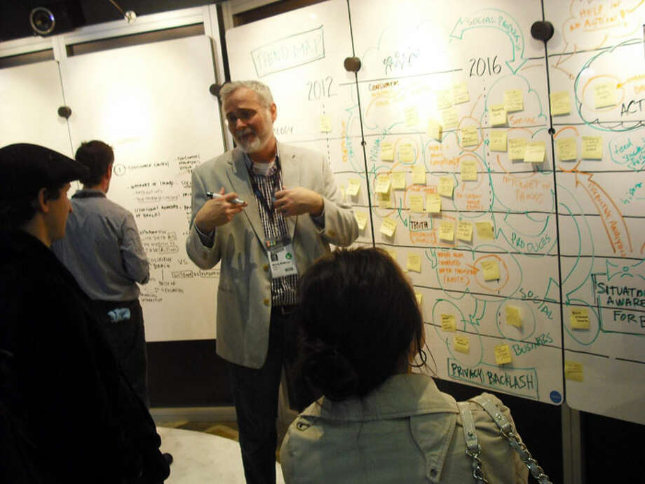 Maya Chief Executive Officer Mickey McManus brainstorms with South by Southwest Interactive visitors about consumer data trends at PepsiCo's What If? Unconference. Edmond Ortiz / North Central News