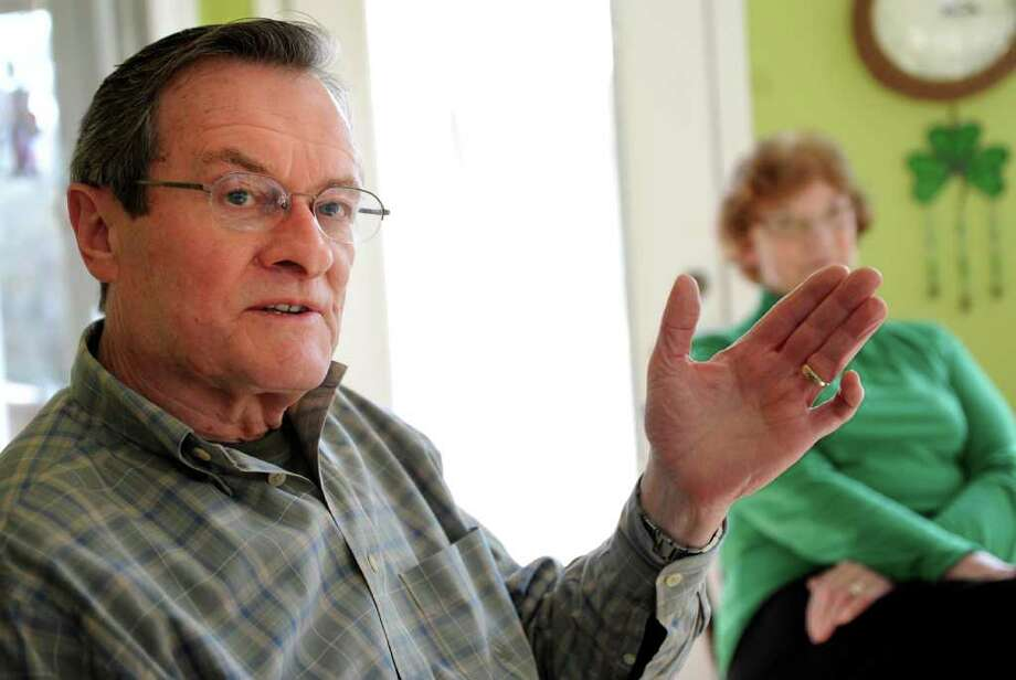 Vincent McMahon talks about the county in Ireland where he grew up during a meeting of the Connecticut Irish-American Historical Society in Orange, Conn. Photo: Autumn Driscoll / Connecticut Post