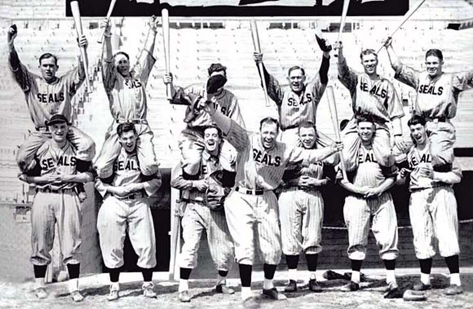 The San Francisco Seals, including Lefty O'Doul (front) and Joe DiMaggio (lower right). Credit: None Photo: None