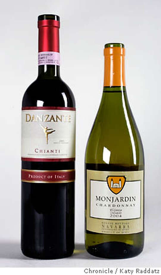 BARGAIN15_005_RAD.JPG  Wine: L to R:  2004 Danzante Chianti  2004 Monjardin El Cerezo Navarro Unoaked Chardonnay. Photo shot on Thursday, June 8, 2006, in San Francisco, CA. (Katy Raddatz/The Chronicle)  Photo taken on 6/8/06, in San Francisco, CA.  **Danzante, Monjardin El Cerezo Navarro Unoaked Chardonnay Photo: Katy Raddatz