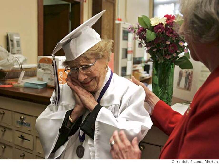 Oldgrad14097_lm.jpg Ninety-eight-year-old Josephine Belasco (left) gets a pat on the back from Bettie Grinnell while trying on her cap and gown in the main office of Galileo High School on Tuesday, June 13, 2006 in San Francisco, CA. On Wednesday, Belasco will finally get her diploma from the school, which she attended in the 1920s. Laura Morton/The Chronicle *** Josephine Belasco  *** Bettie Grinnell MANDATORY CREDIT FOR PHOTOGRAPHER AND SAN FRANCISCO CHRONICLE/ -MAGS OUT Photo: Laura Morton