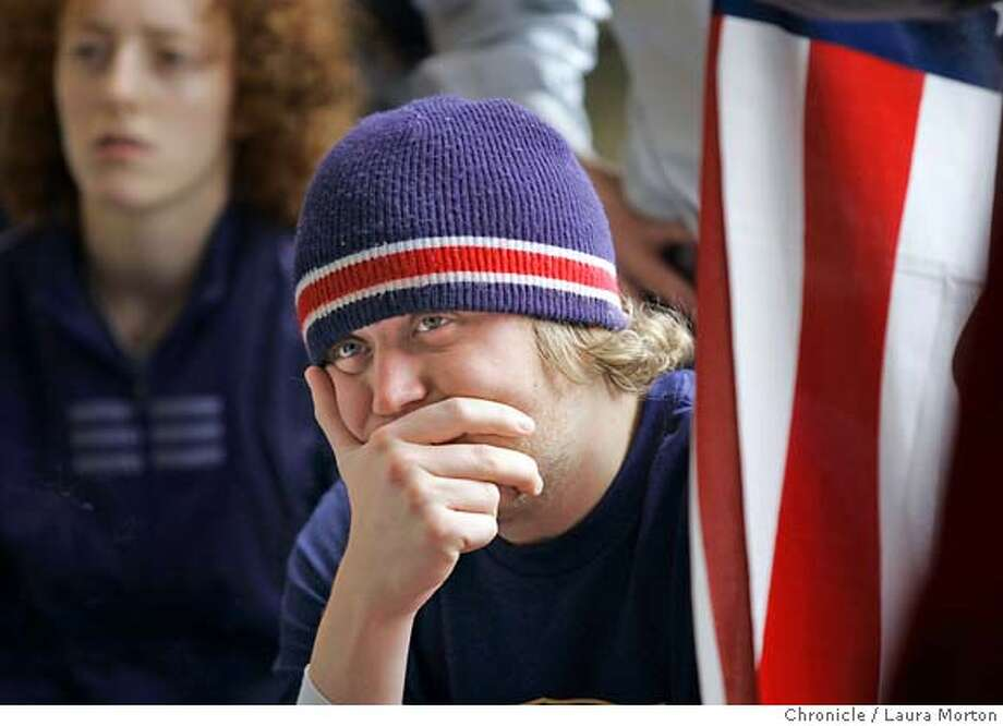 Landin Donner reacts while watching the World Cup at the Steps of Rome cafe Monday, June 12, 2006 in San Francisco, CA. The United States lost 3-0 to the Czech Republic. Laura Morton/The Chronicle ***Landin Donner Photo: Laura Morton