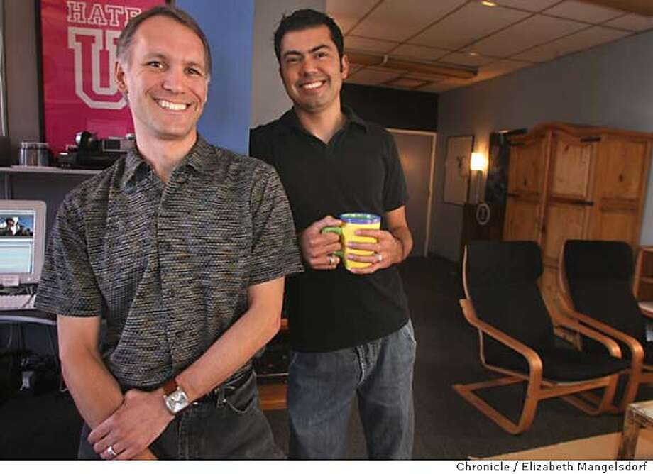 eyethink11_018_lm.JPG  Ken Bielenberg, left, and Alonzo Ruvalcaba, right from Pictures, in their offices in Burlingame on June 5, 2006.  Liz Mangelsdorf /The Chronicle  ***Ken Bielenberg (cq) and Alonzo Ruvalcaba (cq) MANDATORY CREDIT FOR PHOTOG AND SF CHRONICLE/ -MAGS OUT Photo: Liz Mangelsdorf