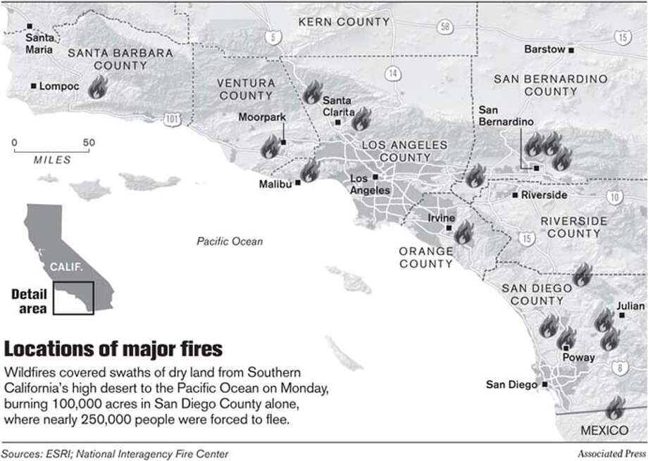Locations of Major Fires. Associated Press Graphic