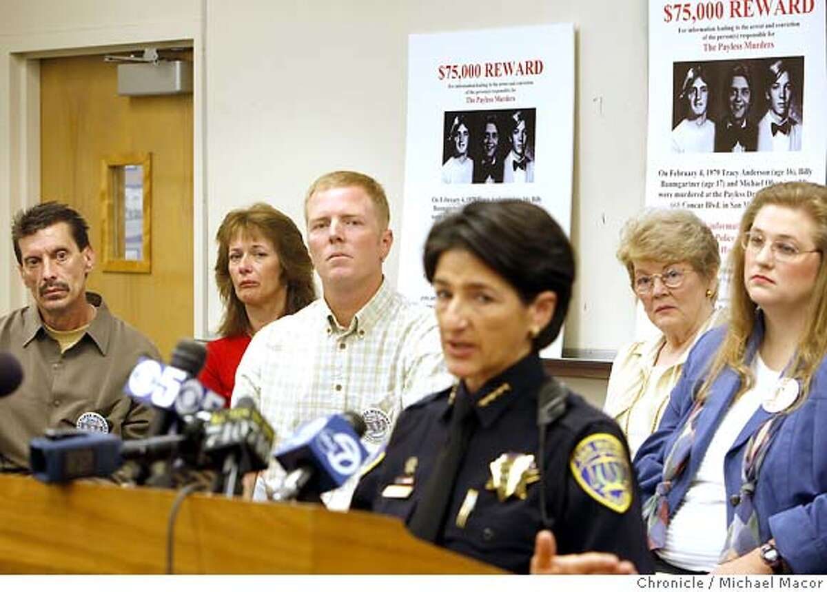 murder24_0140_mac.jpg San Mateo Police Chief Susan Maheimer, (front) asks for the publics' help in solving the 29 year old murder case. The victims family members, l to r- Phil Baumgartner, (Billy Baumgartner's brother) Nancy Davis (Phil's friend), Todd Anderson, Roberta Anderson, (Tracy Anderson's brother, mother) Amy Olson (Michael Olson's daughter). The families of the Pay Less murder victims stand with police at a press coference to plea for public help in solving a 29-year-old triple murder cold case. Michael Macor / The Chronicle Photo taken on 10/23/07, in San Mateo, CA, USA