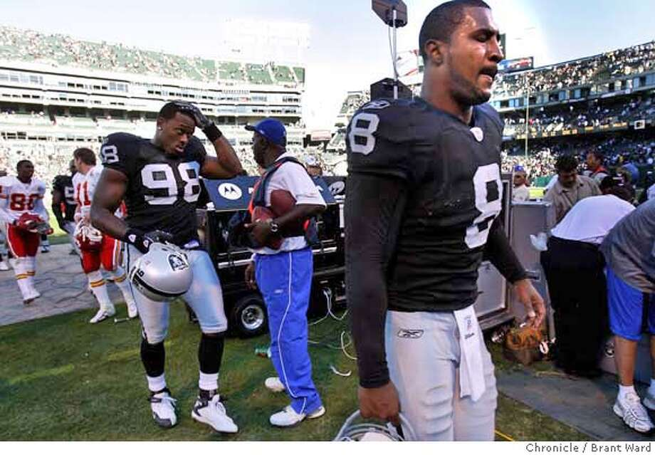 Raiders quarterback Daunte Culpepper walked past the crowd after throwing an interception costing Oakland the game.  Oakland Raiders vs Kansas City Chiefs at McAfee Coliseum Sunday.The Raider lost 12-10 to Kansas City. {By Brant Ward/San Francisco Chronicle}10/21/07 Photo: Brant Ward