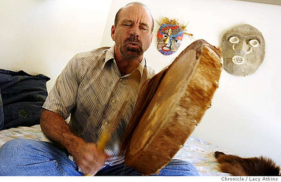Lanz Lowen as part of his healing plays drums weekly in his practice of his Shamanic faith, at his home in Oakland, May 18, 2006. Lanz Lowen, 53 years, a Longtime Survivor has known he has the HIV virus since 1985. (Lacy Atkins/The Chronicle)  **Lanz Lowen Photo: Lacy Atkins