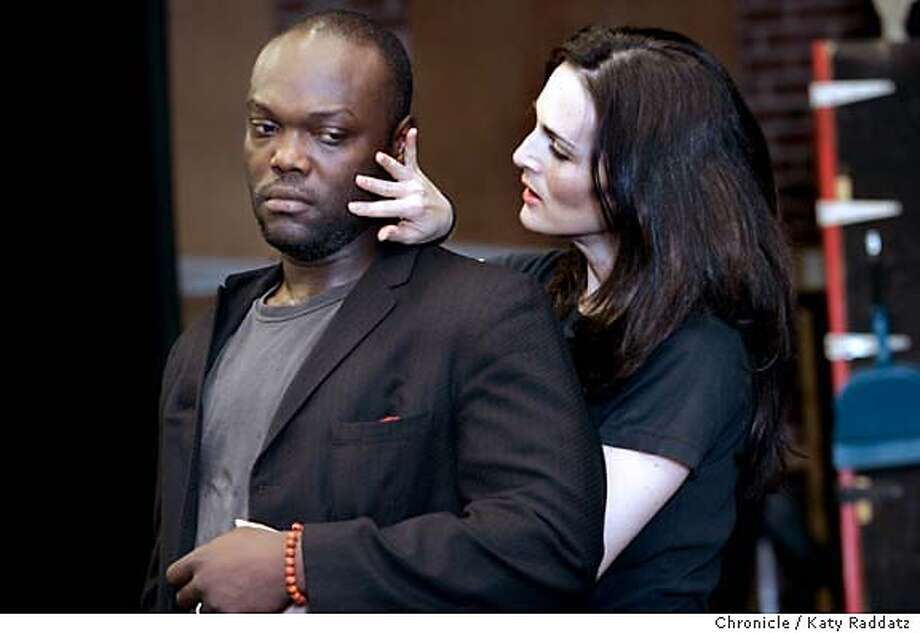 "HAPPYEND04_070_RAD.JPG  SHOWN: R: Charlotte Cohn playing Hallelujah Lil in Kurt Weill's ""Happy End;"" L: Peter Macon playing Bill Cracker in Kurt Weill's ""Happy End."" Hallelujah Lil is telling Bill that she still loves him. Story about the ACT production of Kurt Weill's ""Happy End."" We photograph the rehearsal in San Francisco, CA. on Monday, May 22, 2006.  (Katy Raddatz/The Chronicle)  Photo taken on 5/22/06, in SAN FRANCISCO, CA.  **Charlotte Cohn (cq), Peter Macon, Kurt Weill Photo: Katy Raddatz"