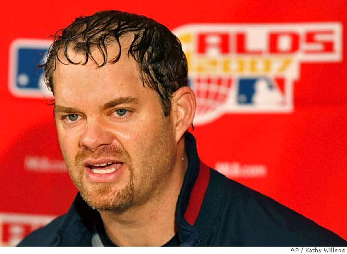 Cleveland Indians' Paul Byrd addresses the media after he pitched to a 6-3 victory over the New York Yankees in Game 4 of their American League Division Series baseball playoffs in New York, Monday, Oct. 8, 2007. The Indians will face the Boston Red Sox in the American League Championship Series. (AP Photo/Kathy Willens)