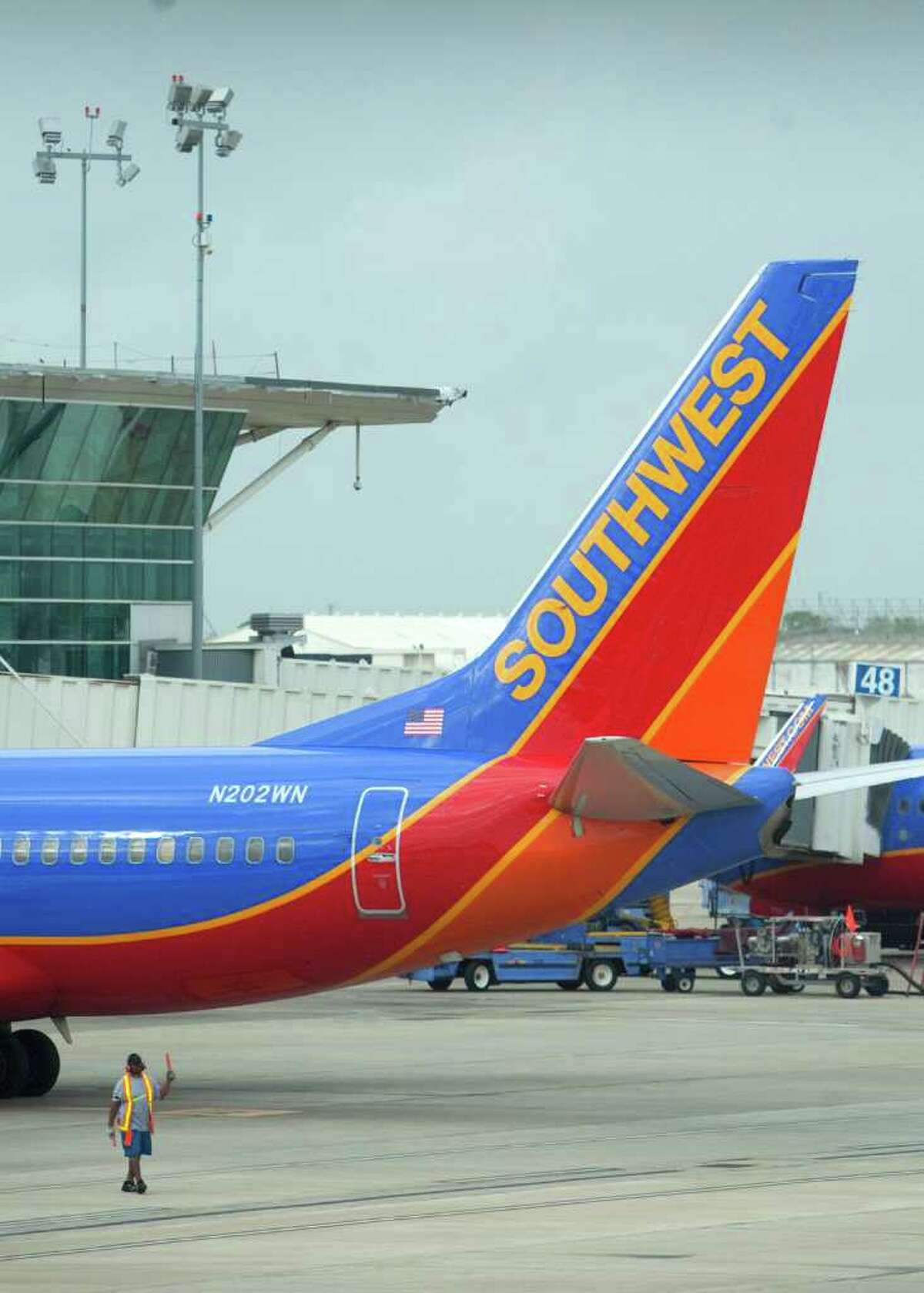 A Southwest Airlines airplane is seen leaving William P. Hobby Airport on Wednesday. If the airline gets its way, Southwest jets could be landing in Mexico.