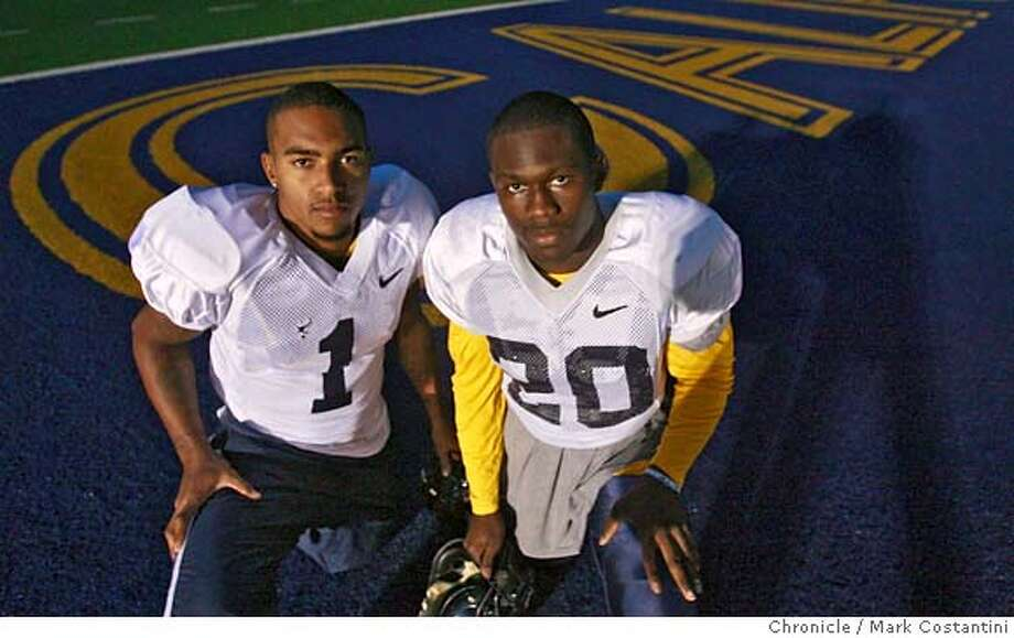 Cal football players (l-r) DeSean Jackson and Justin Forsett . When a college football player holds great promise as an NFL player, he is pursued by would-be agents who want to represent him in his negotiations with pro teams. We're doing a feature on how college players and college teams deal with the onslaught of agents. .PHOTO: Mark Costantini / The Chronicle Photo: MARK COSTANTINI