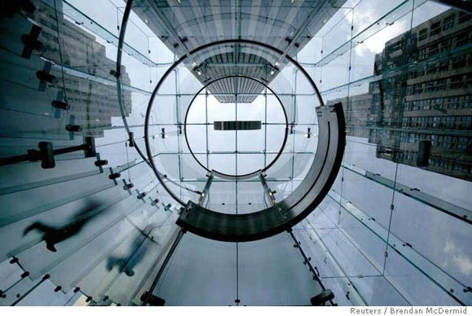 A look up the from elevator at the new Apple retail store on Fifth Avenue in New Yor Photo: BRENDAN MCDERMID