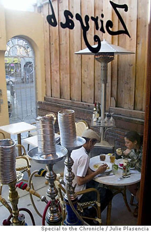 A cozy patio replete with hookah water pipes makes up for the hit-or-miss Mediterranean fare at this Western Addition hangout. Photo by Julie Plasencia, special to the Chronicle