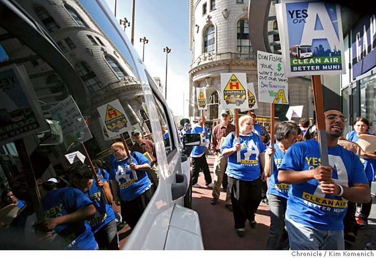 MUNIBALLOT19_029_KK.JPG Supporters of San Francisco Proposition A hold a protest in front of the Gap store at Powell and Market. The Pro-