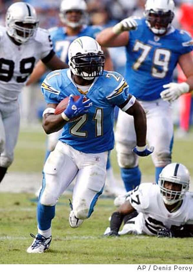 San Diego Chargers running back LaDainian Tomlinson runs away from Oakland Raiders Fabian Washington (27) and Warren Sapp (99) on a 41-yard touchdown run during the fourth quarter of an NFL football game Sunday, Oct. 14, 2007 in San Diego. Tomlinson scored four touchdowns in the Chargers 28-14 win. (AP Photo/Denis Poroy) Photo: Denis Poroy