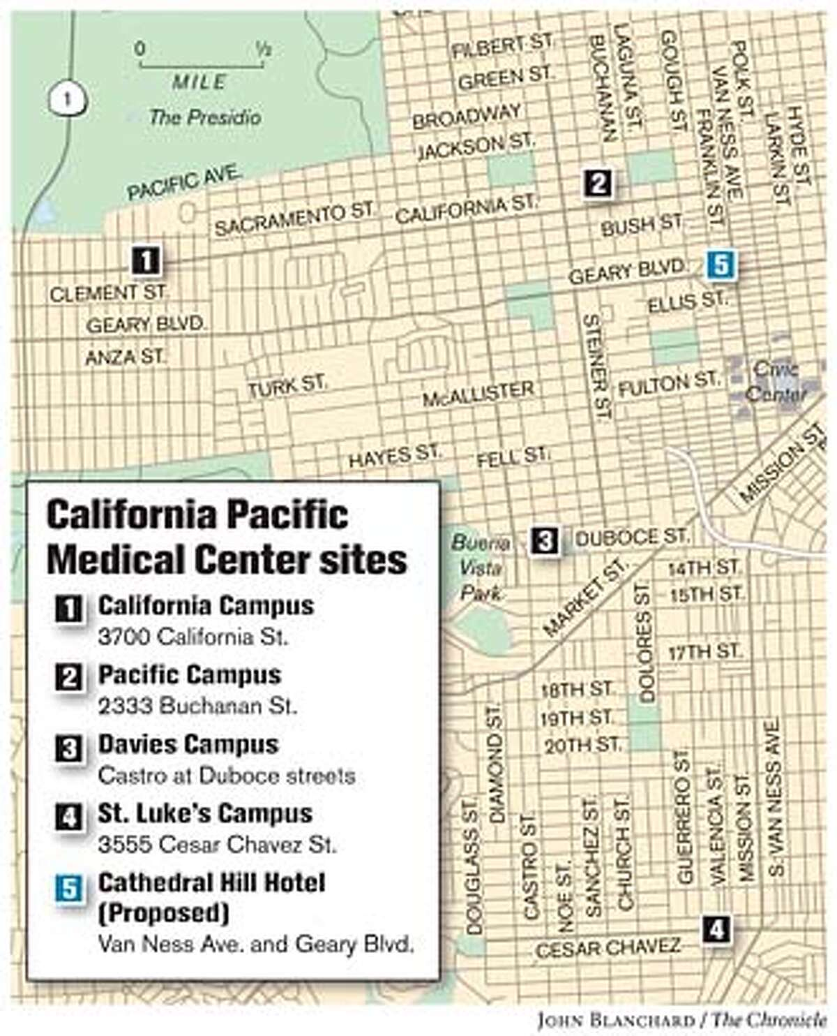 California Pacific Medical Center sites. Chronicle graphic by John Blanchard