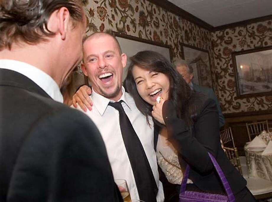 Designer Alexander McQueen laughs along with Vogue Taiwan Editor at Large Rosalie Huang at a private dinner in his honor at the Huntington Hotel last week. Photo by Julie Plasencia, special to the Chronicle