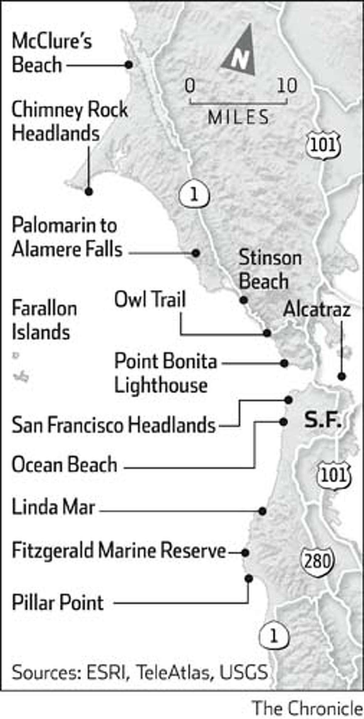 Beach spots around the Bay Area. Chronicle Graphic