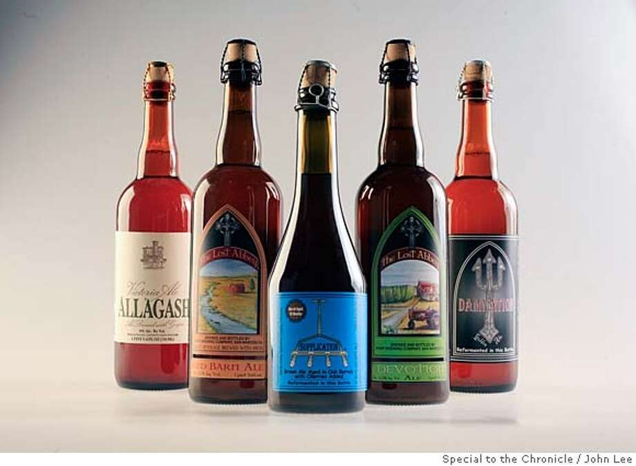 BEER19_JOHNLEE.JPG  FROM LEFT: Victoria Ale Allagash, The Lost Abbey Red Barn Ale, Supplication Brown Ale, The Lost Abbey Devotion Ale, Damnation Golden Ale.  By JOHN LEE/SPECIAL TO THE CHRONICLE Photo: JOHN LEE