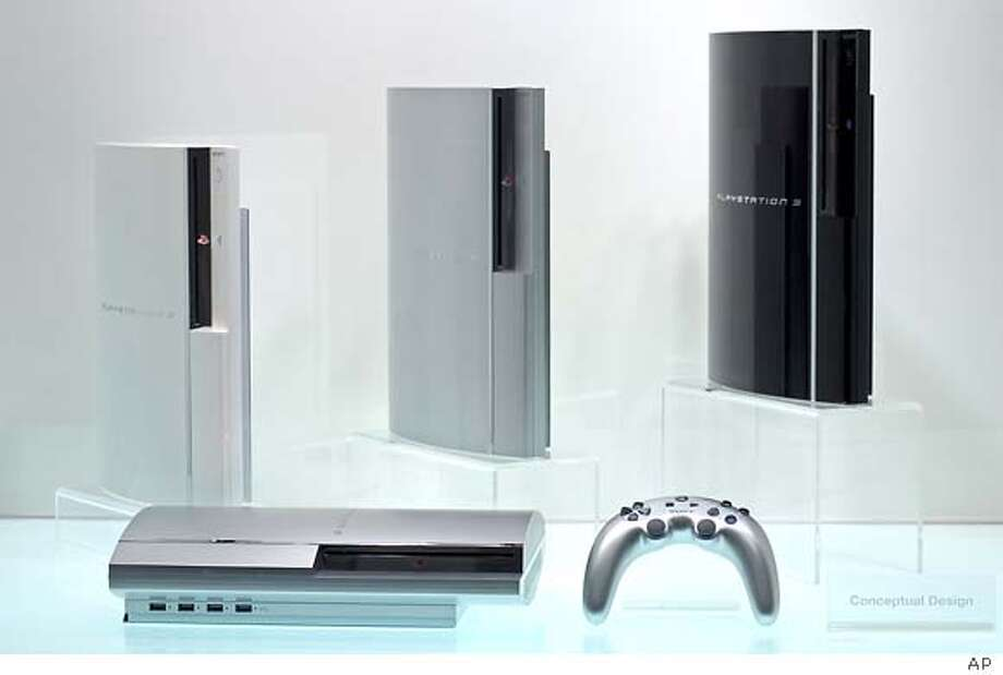 ** FILE ** Three different colored models of Sony's new PlayStation 3 video game machine are displayed on the opening of Taiwan's Taipei Game Show, in Taipei, Taiwan, in this February 16, 2006, file photo. Sony Corp.'s game unit said Tuesday October 9, 2007, it will cut the prices of its PlayStation 3 game consoles sold in Japan next week, and offer a new low-range model in November. (AP Photo, FILE) Photo: Associated Press