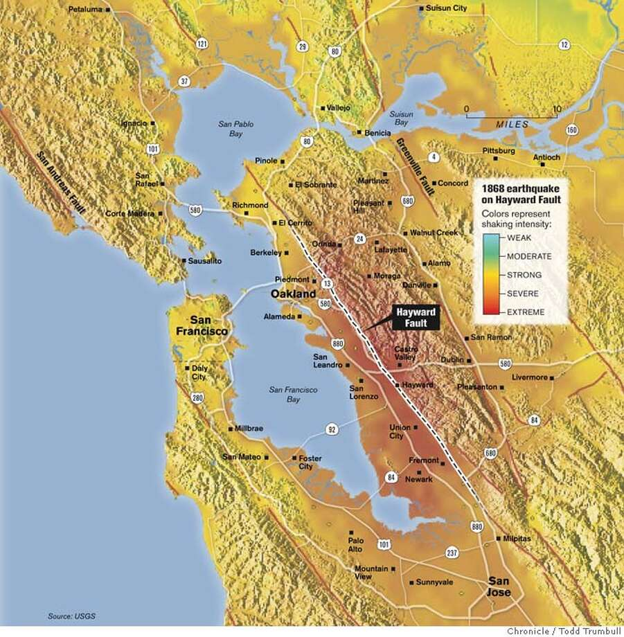 1868 Earthquake on Hayward Fault. Chronicle graphic by John Trumbull Photo: Todd Trumbull